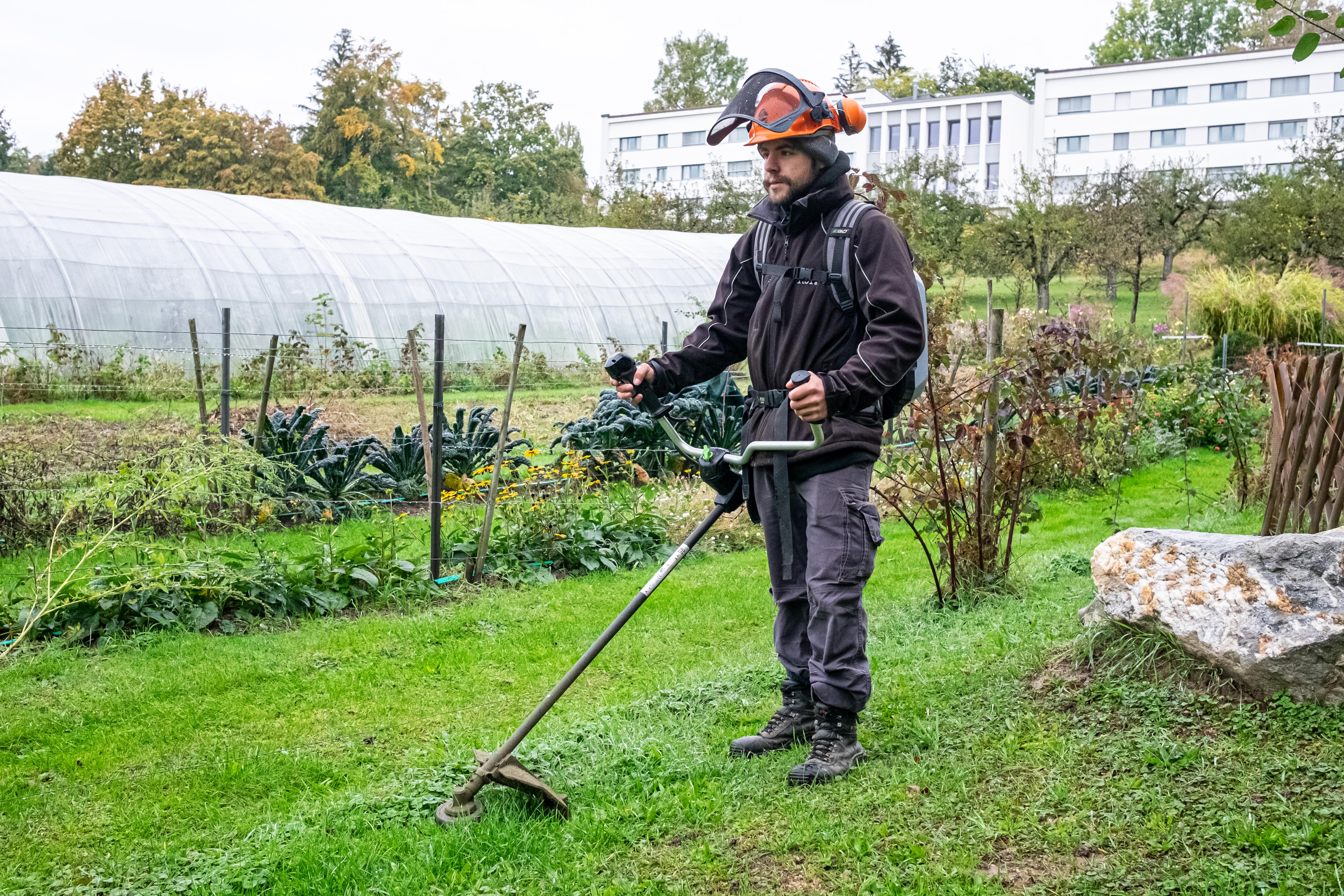 Homme en équipement de sécurité débroussaillant un champ